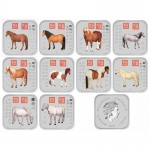 2014 Year of the Horse 1oz Silver Square 10-Coin Collection