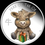 Baby Ox Tuvalu 1/2 Unze Silver 2020 Proof coloured