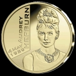 Belgium 25 Euro Gold 90 Anniversary of Birth of Audrey...