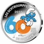 Belgium 5 Euro 60 Years The Smurfs Comics 2018 Proof...