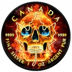 2018 Burning Maple Skull 1oz Silver Coin - Black...