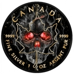 Canada 2018 5$ Burning Maple Leaf Smoked Skull 2018 Black...