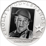 2010 Cook Island 25 g Silver Cook Island Hollywood Legends John Wayne 5 Dollar Proof