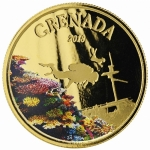 2018 Grenada 1 oz Gold Diving Paradise  (01) EC8 (Colorized)
