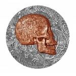 Kamerun 1 Oz Silber Carved Skull Bones 2017 - Antique Finish 1000 Francs