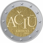 Lithuania 2 Euro Lithuanian Language 2015 unc.