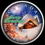 1 oz Silver Canadian Maple Leaf 2019 colorized Christmas (1) Silent Night Special Edition