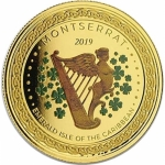Montserrat, 10 Dollar, Irish Harp (02) 2019 EC8 1 Unze Gold, 1 oz farbig Proof