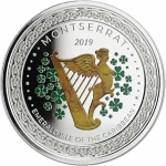 2019 Montserrat 1 oz Silver Irish Harp  (02)  EC8 Proof...