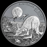 Niue 1 Oz Silber Kangaroo Australia at Night 1 Unze...