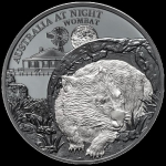 2021 $1 Australia at Night Wombat 1oz Silver Black Proof.