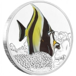 Niue 2 Dollar Reef Fish - Halfterfisch  Moorish Idol1 Oz...