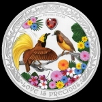 Niue Island 2 Dollar 2020 Lovebirds Love is Precious Series Birds of Paradise 1 Unze Silver coloured
