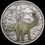 Niue Islands 2 Dollar Dinaosaurier Brontosaurus 1 Oz...
