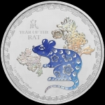 2020 Year of the Rat 1 oz Coloured Silver Coin Niue...