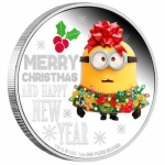2019 Minion Lunar - Minion Christmas 1oz Silver Proof Coin coloured