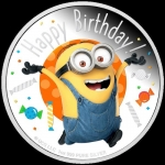 Niue Islands 2 Dollar Minions - Happy Birthday 1 Unze Silber , 1 oz, 2019,