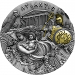 Niue 2019 $5 ATLANTIS Legendary Lands  2 Oz Silver partly...