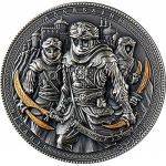 Niue 2019 $5 Nizaris Assassins 2 Oz Silver partly gilded  Antique Finish Proof