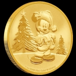 2019 Niue 1 oz Gold $250 Disney Mickey Christmas BU
