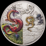 2019 $5  Dragons - The Four Dragons 2oz Silver Coin