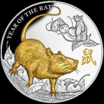 Niue Islands 8 Dollar Jahr der Ratte PIG gilded 2020, 5...