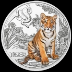 Austria 3 Euro Silver Colourful Creatures The Tiger 2017
