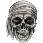 2017 Palau 5 Dollar 1 Oz Silver Pirate Skull  High Relief