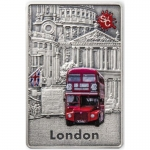 Samoa 2 Oz Silver Rectangular  LONDON Splash Of Colour...