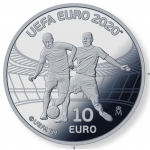 Spain 10 Euro Silver 2020 Soccer EM UEFA 2020 Proof