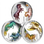 Tuvalu 3 Coin Set Horses of Lore and Legend 3 x 1 Oz...