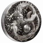 Tuvalu 2018 $5 Mythical Creatures - Dragon 5oz Antique Silver Proof