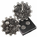 Tuvalu Evolution of Industry - Gear-Shaped  Zahnradform 2 x 1 Oz Silber Antique Finish Silber 2 - Coinset