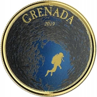 2019 Grenada 1 oz Gold Diving Paradise (02)  EC8 (Colorized) Proof