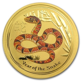 1/10 oz Gold Australian Lunar Year of the Snake Coin (SII) 2013 coloured