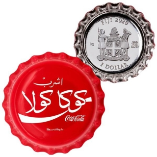 1 $ Dollar Coca Cola Global Edition Egypt  Bottle Cap Shaped Fiji Silver Proof 2020