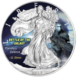 1 Oz Silber Eagle 2017 Planetary Defense - Battle of the Galaxy USA farbig