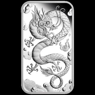 1 Oz Silber Drachen Dragon Rectangular 2019 Australien 1,0 AUD Perth Mint Proof in Box