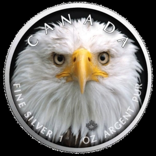1 oz Silver Canadian Maple Leaf 2019  Canadas Wildlife (4) - Bald Eagle Canada