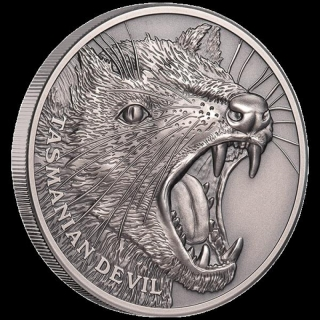 1 Oz Silber Niue Tasmanischer Teufel 2019 Ultra High Relief Wildlife Antique