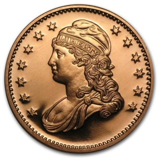 1 oz Copper Round - Capped Bust .999 AVDP