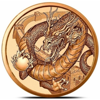 1 Unze Copper Round The Chinese World of Dragons  999,99