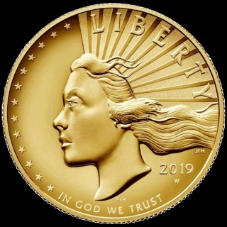 2019 American Liberty High Relief Enhanced Finish 1 Oz Gold Coin (w/Box and COA)
