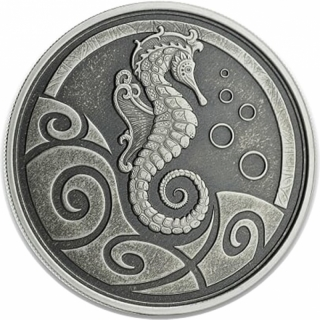 1 oz Samoa Seahorse Silver Coin (2019) Antique Finish