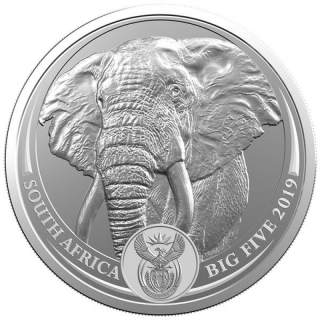 1 oz Silver South African Big Five Elephant 2019