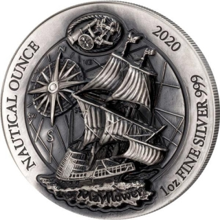 1 oz Silver High Relief 40/4  Rwanda Nautical Ounce  Mayflower 2020  ultra deep relief