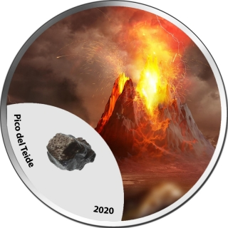1 Unze Silber Kamerun Mountains of Fire - Pico del Teide 2020  farbig 1000 Francs