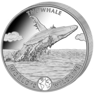 2020 Congo 1 oz Silver The Whale World´s  Wildlife BU