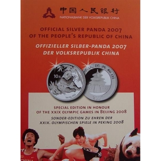1 Unze Silber Panda 2007 China Sonderedition Beijing Olympia 2008