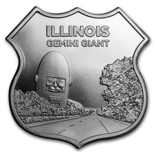 1 Unze Silber Round Route 66 Icons of Route 66 Shield (Illinois Gemini Giant)